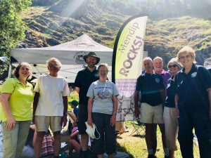 The team behind Mendip Rocks! launch 2018; Adel Avery, programme coordinator, Peter Hardy, geologist, Andy Mallender, AONB Unit, Dr Gill Odolphie, Earth Science Centre, Malcolm Parsons, AONB volunteer ranger, Cllr Nigel Taylor, AONB Partnership Chairman, Jean Bullen, AONB volunteer ranger, Royette Chapman, AONB volunteer ranger